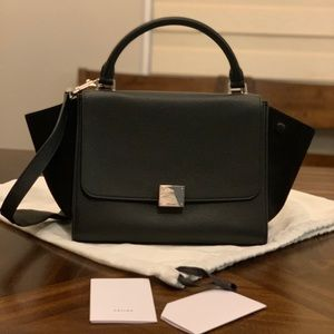 Celine Black Leather Trapeze Shoulder bag satchel